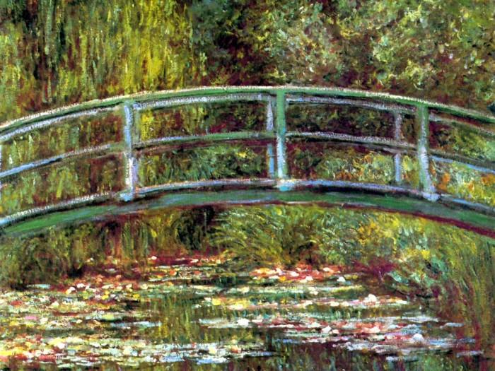 A pequena ponte japonesa e o lago, em quadro de  Claude Monet