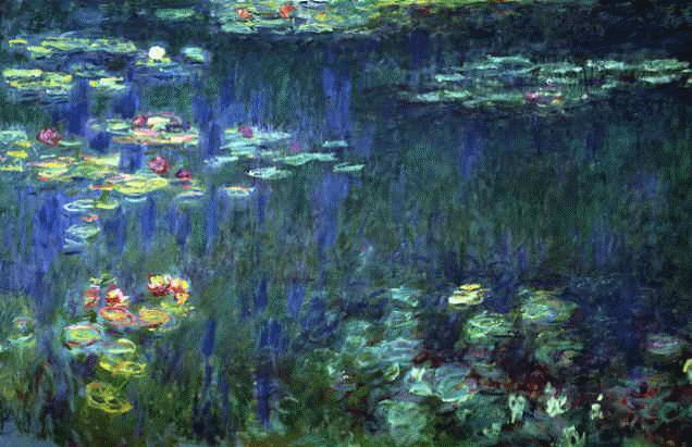 Os lírios de água do lago, retratados incansavelmente por Monet