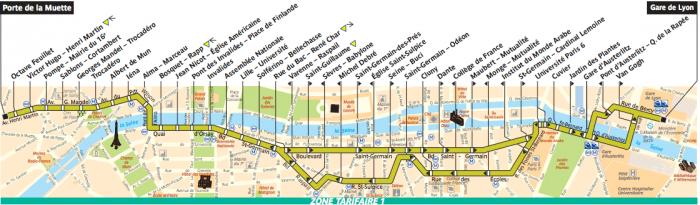 Mapa do trajeto do ônibus 63, em Paris.
