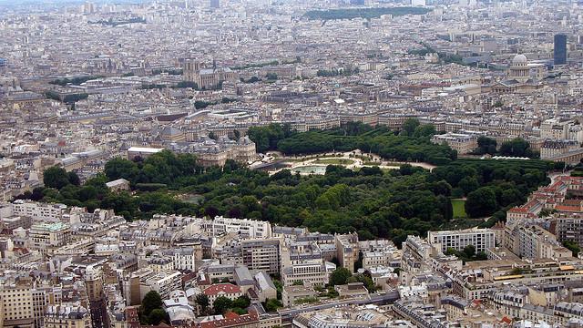 O Jardin de Luxembourg, visto do alto da Torre Montparnasse