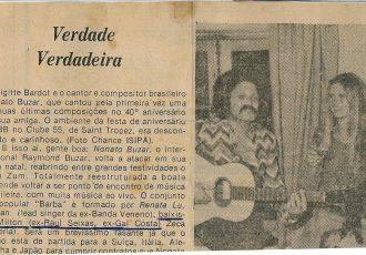 Nonato Buzar tocou violão na festa de 40 anos de Brigitte Bardot