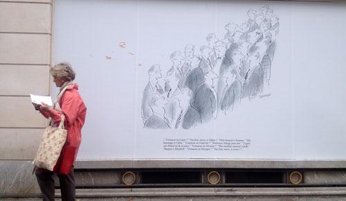 Desenho de Sempé na rue des Sèvres