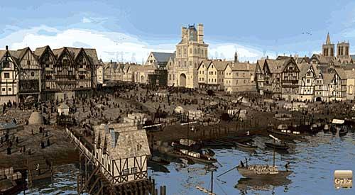 A mesma praça na Idade Média
