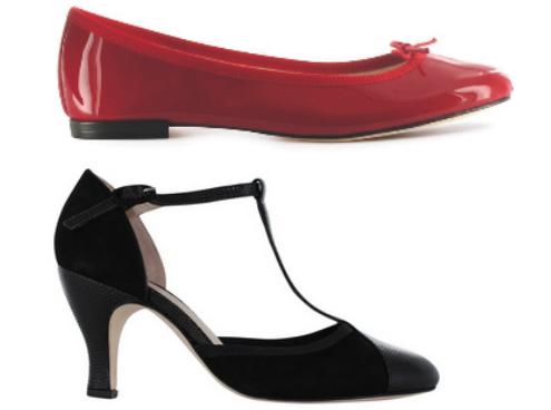 Os clássicos femininos da Repetto: a sapatilha vermelha da Repetto e o modelo com salto.
