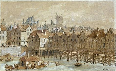 Uma das pontes que ligava a Cité à Cidade - de madeira com casas sobre ela.