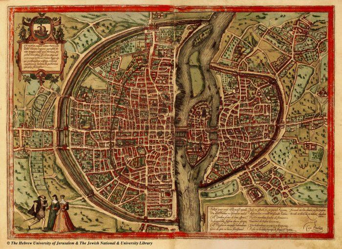 Mapa da Paris medieval: a Cidade , a Cité e a Universidade.