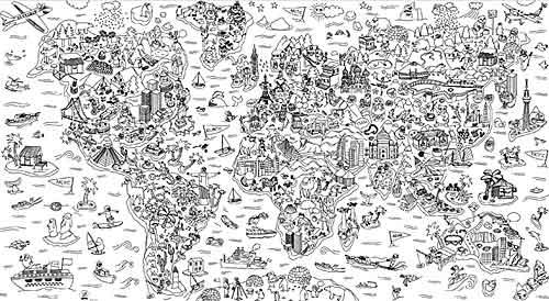 Painél atlas para colorir