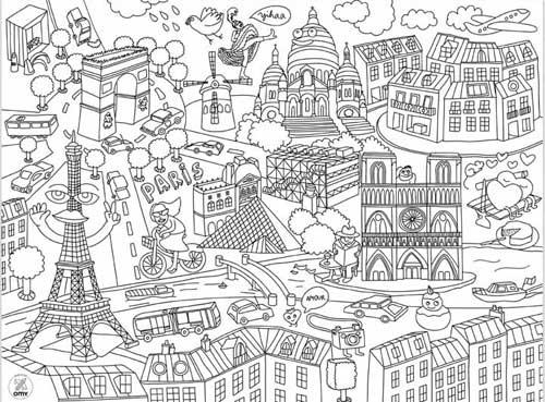 Mapa de Paris para colorir