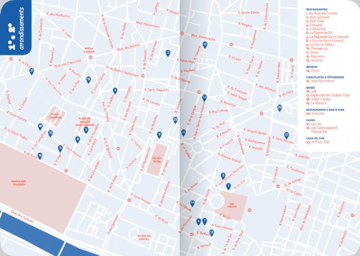 Um dos dez mapas do guia Paris - Restaurantes e Outras Delícias
