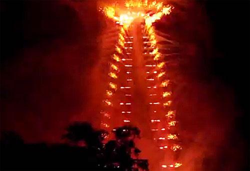 Fogos artifício torre Eiffel