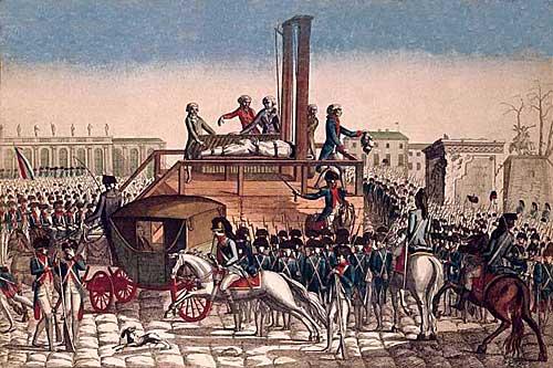 Execução de Louis XVI.Gravura anônima.Museu Carnavalet