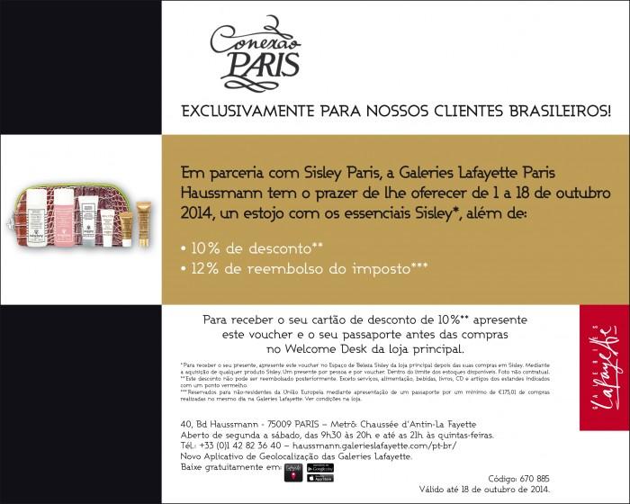 Oferta Sisley e Galeries Lafayette para brasileiros