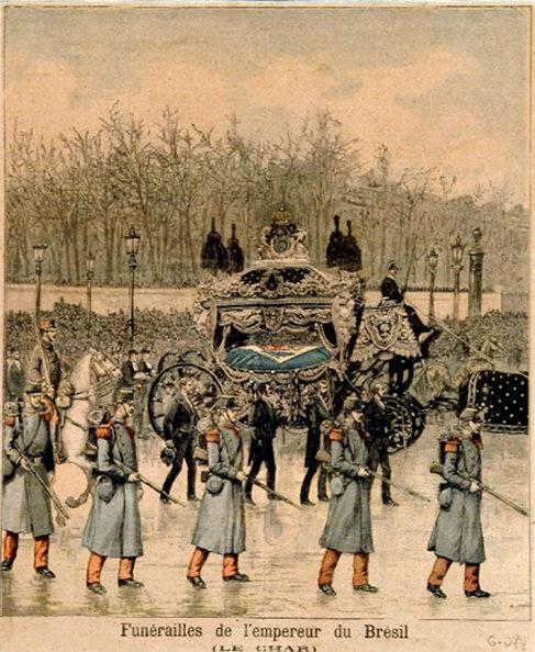 Cerimônia do funeral de D. Pedro II em Paris, em 1891