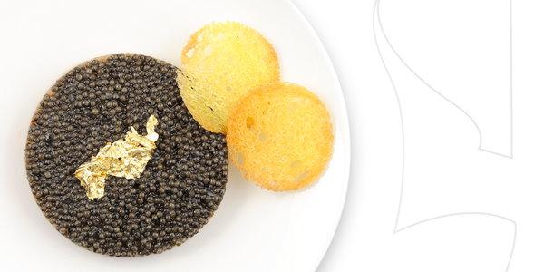 Degustação de caviar oferecida na primeira classe da Air France