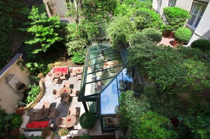 Jardim externo do hotel