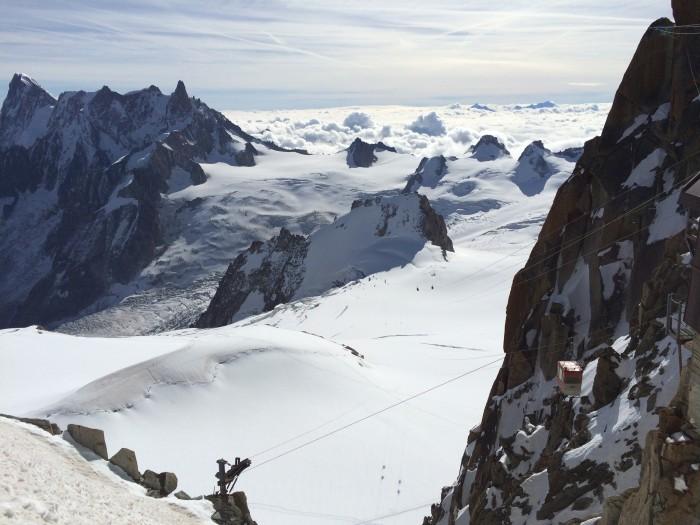 Vista do topo das Aiguilles du Midi