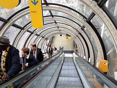 Centre Pompidou, escada rolante