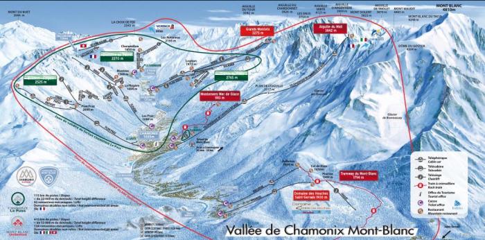 Mapa das pistas de ski em Chamonix.