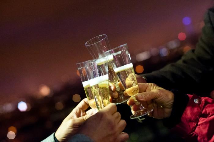 Ao final do passeio, um brinde com champanhe