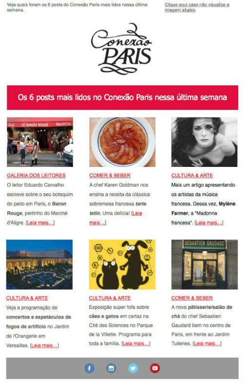 A nova newsletter do Conexão Paris.