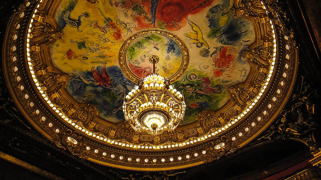 O teto pintado por Marc Chagall da Ópera Garnier, em Paris.