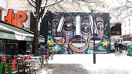 Le Mur e o Café Vert, na rue Oberkampf