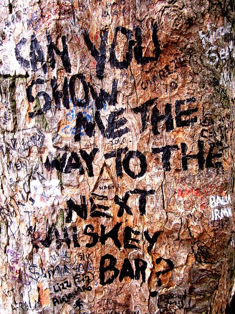 Grafite em árvore próxima ao túmulo de Jim Morrisson, no cemitério Pére Lachaise.