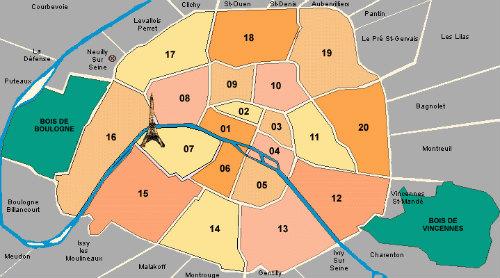 Os arrondissements de Paris e as cidades vizinhas.