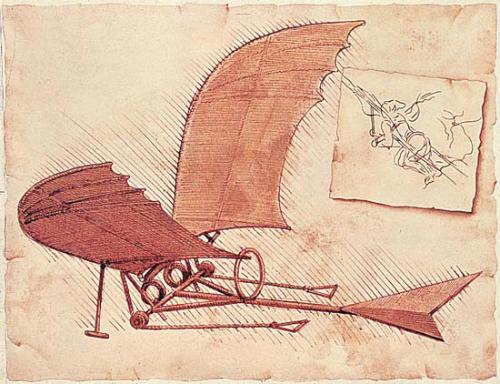"""Uma das """"maquinas de voar"""" desenhadas por da Vinci"""