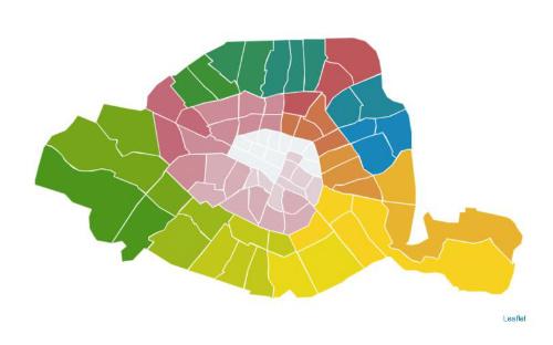 Mapa dos arrondissements na simulação do jornal Le Parisien