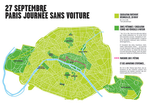 Mapa do evento Paris sem carros