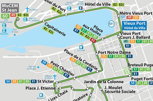 Ônibus linha 60, do Vieux Port até a basílica