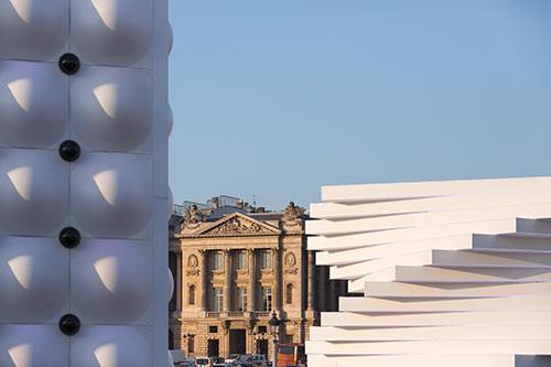 Pavilhões da exposição Saint Gobain na Concorde