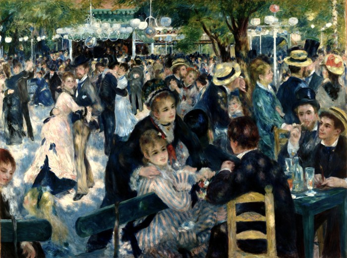 O baile no cabaré Le Moulin de la Galette, na região de Montmartre, em Paris, retratado por Auguste Renoir.
