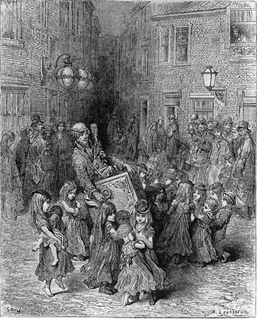 Orgue de barbarie. Desenho de Gustave Doré