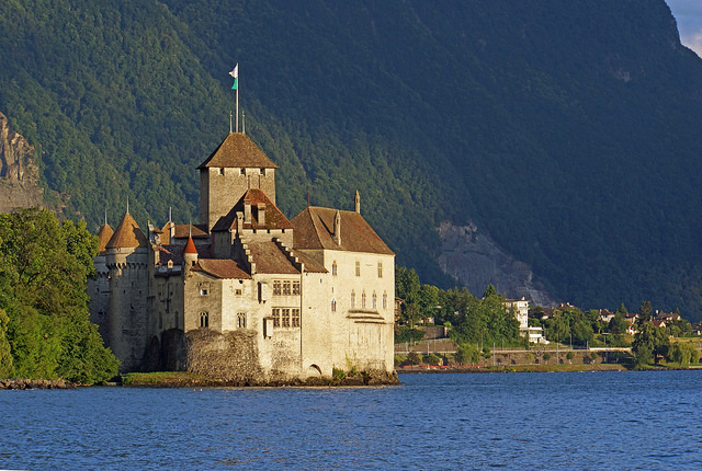 O castelo de Chillon, em Montreux. Foto de Dennis Jarvis