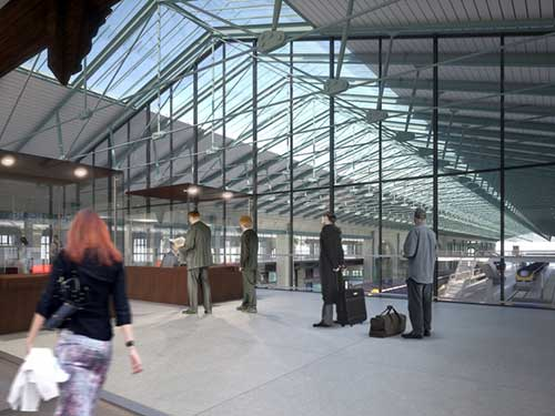 Projeto do novo local de embarque do Eurostar. Créditos Wilmotte et Associés Architectes