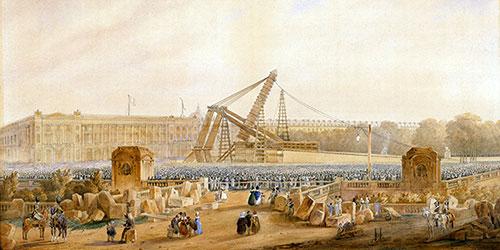Instalação do obelisco na praça Concorde