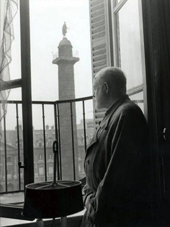 1956. Ernest Hemingway at Ritz Paris. Photography by Luc Fournol