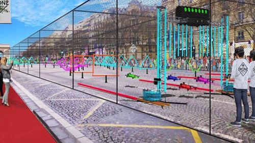 Drones na avenida Champs Élysées