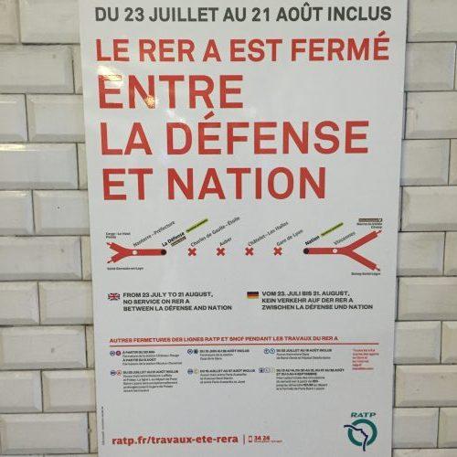 Interrupção do trem RER A de hoje até o dia 21 de agosto de 2016