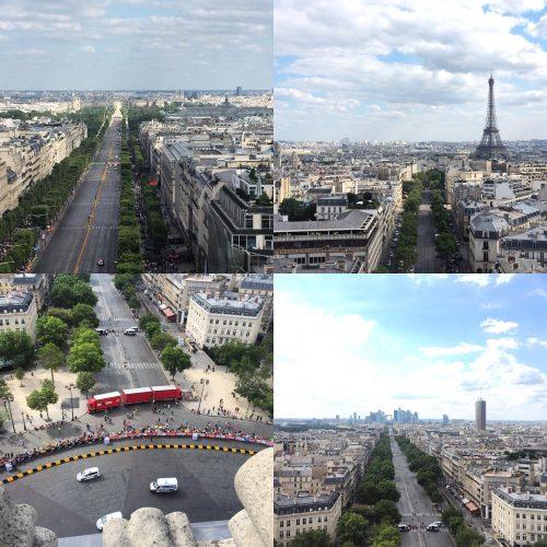 Várias vistas que se tem do alto do arco do Triunfo: Place de la Concorde, Torre Eiffel, La Défense…
