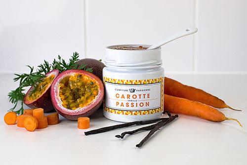 Geléia cenoura, maracujá e baunilha