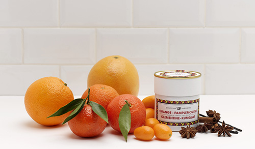 Geléia laranja, pomelo, tangerina e kumquat