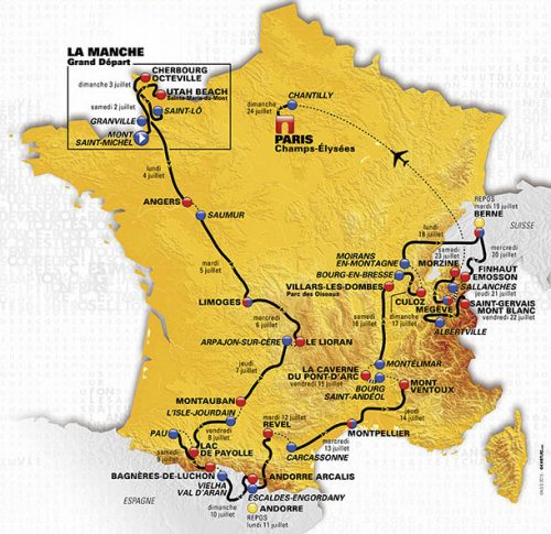 O 103º Tour de France, 2016, e suas 21 etapas