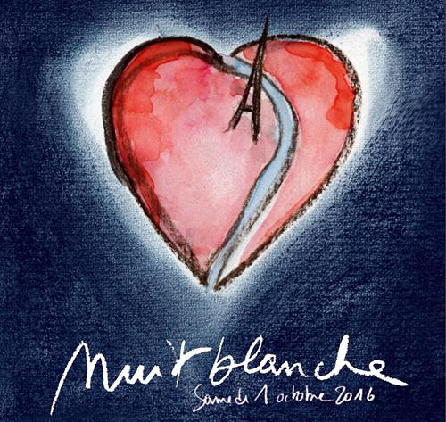 Cartaz da Nuit Blanche 2016 que tem como tema o amor e a busca pelo ser amado.