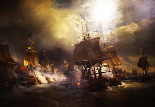 Museu da Marinha. Pintura relatando a participação da França na guerre de independêndia dos Estados Unidos