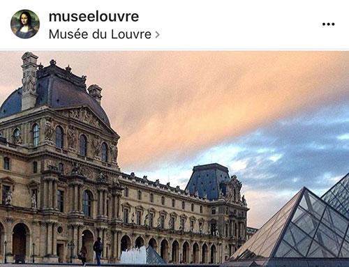 Instagram e museus franceses. Louvre