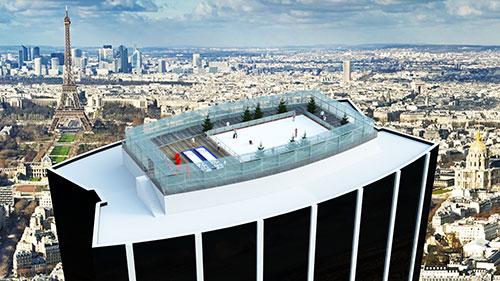 Pista de gelo vista panorâmica de Paris
