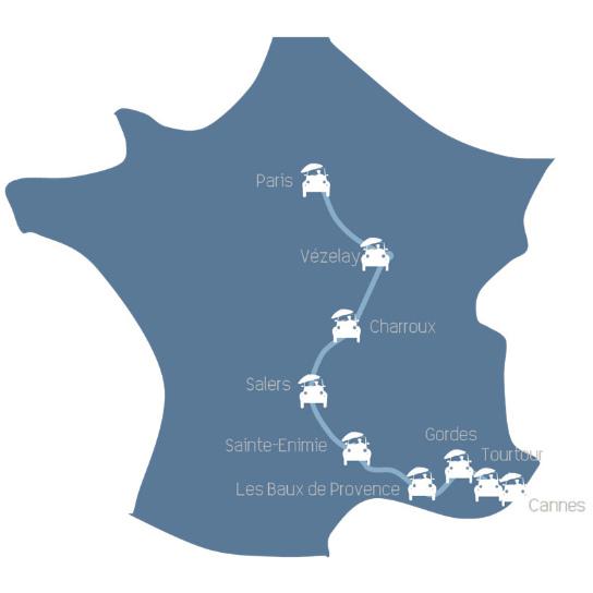 viagem de carro de Paris até Cannes